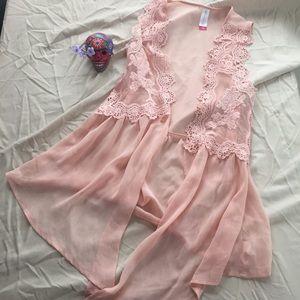 Blush lace vest